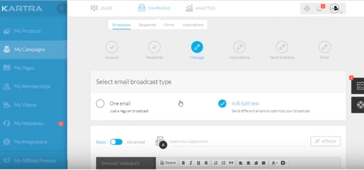 Kartra email broadcast